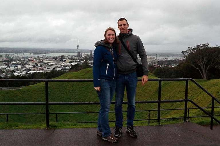 Erstes Selfie in Neuseeland: Franzi und Jonas