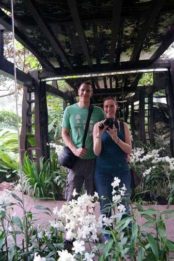 Jonas und Franzi im Orchideengarten Singapur.