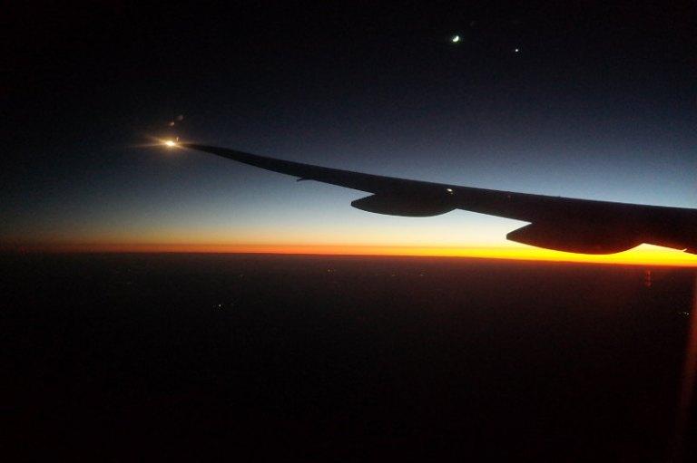 Sonnenaufgang über Australien Flugzeug