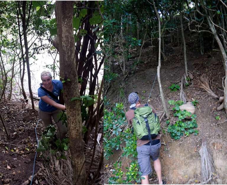 Franzi und Jonas klettern irgendein Seil hoch