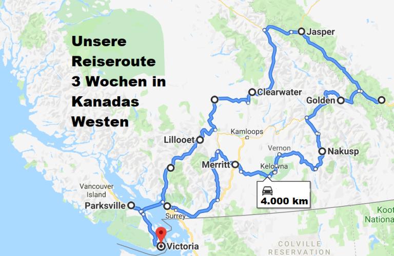 Reiseroute drei Wochen im Westen von Kanada