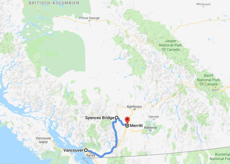 Karte erste Etappe von Vancouver nach Merritt
