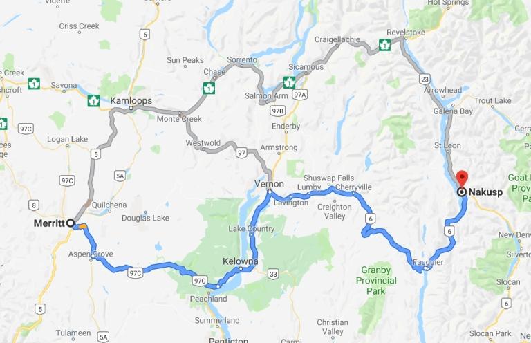 Karte der zweiten Etappe