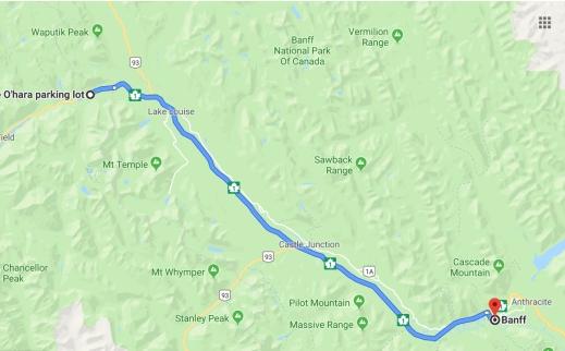 Reiseroute vom Yoho Nationalpark nach Banff