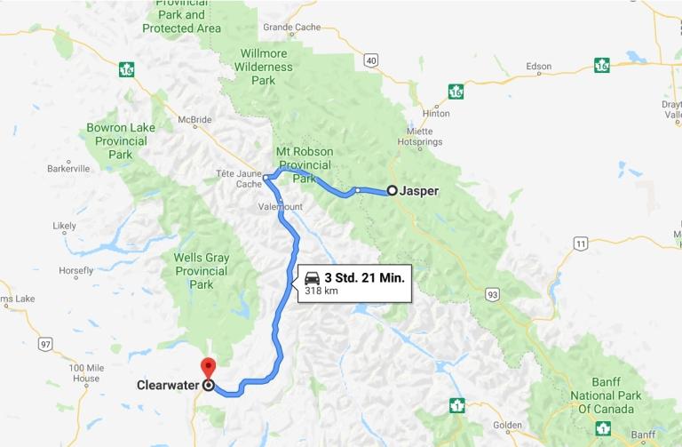 Strecke von Jasper nach Clearwater