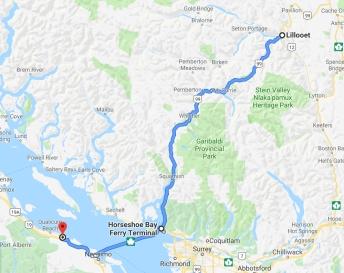 Strecke von Lillooet nach Nanaimo